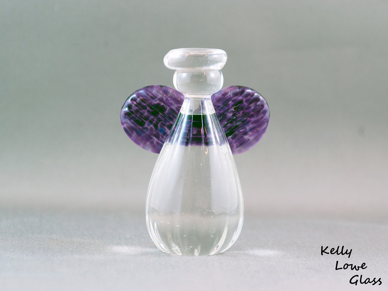 "Glass Angel - Small with Clear Glass Halo:  A smaller freestanding glass angel with wings coloured to your choice.  <i><a href=""/AvailablePieces/Small-Angels/"">Click here to see examples of available colours</a></i>"