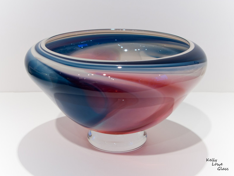"""Misty"" Bowl:<br /> <br /> Gas like colours flow across the surface of this bowl; each viewing angle utterly unique - ensuring that each guest at the table has a view all their own."