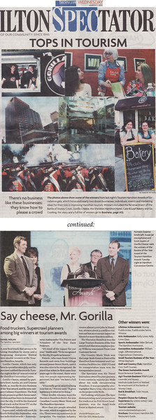 """Newspaper Article: """"Tops in Tourism""""  Newspaper: The Hamilton Spectator Article Focus: The Spectator's coverage of Hamilton's 2012 Tourism Awards, at which I was recognized as the Arts Ambassador of the Year Date: March 7th, 2012  The Hamilton Spectator is one of Canada's largest newspapers with a weekly circulation of well over half a million.  A nice two page spread on Hamilton's 2012 Tourism Awards. It was an honour just to attend this event with so many of the people that make Hamilton a fantastic city to both live and do business in, and it was very exciting watching them being recognized for all their hard work. Being nominated as the Arts Ambassador of the Year was a huge thrill on its own, and winning was definitely one for my own personal highlight reel. Thank you to everyone involved, and congratulations to all who took home a fabulous piece of glass art by a certain Hamilton glassblower!   To view the newspaper's online version of this article please click the following link: Food Truck, Downtown Festival Big Winners at Tourism Awards (opens in a new window)."""
