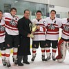 The 2012-13 Glen Rock Seniors receive the 2013 Silver Division Cup.  Pictured are Tom Gilroy, Mike Felicioli, Jesse Kinney, Tim Watson and Harris Nebbia.