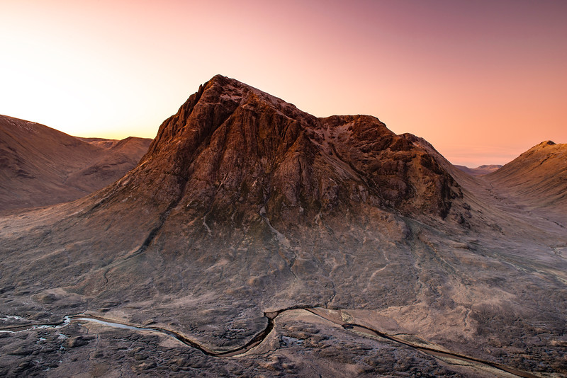 Buachaille Etive Mor mountain at sunrise.