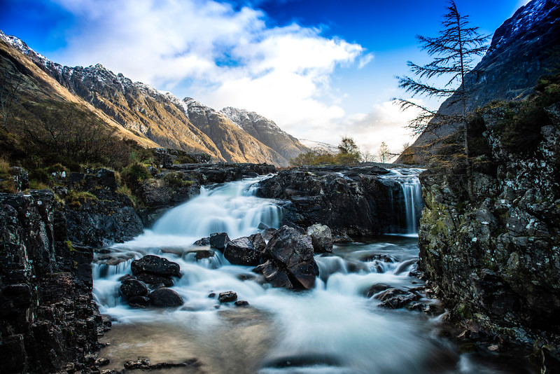 Waterfalls in glencoe, scotland.