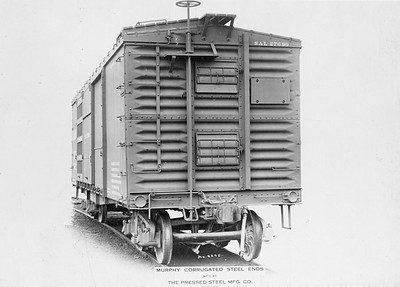 2011.008.0213.07--glenn guerra collection 4.5x6.5 print--SAL--wooden boxcar 27699 with Murphy steel ends by Pressed Steel Car Co builders photo (lot 2204-F)--Pittsburgh PA--1914 1000