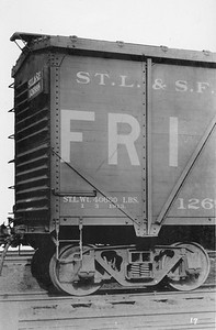 2011.008.0213.14--glenn guerra collection 4.5x6.5 print--SLSF--cwooden boxcar 126998 close up Pressed Steel Car Co builders photo--location unknown--no date