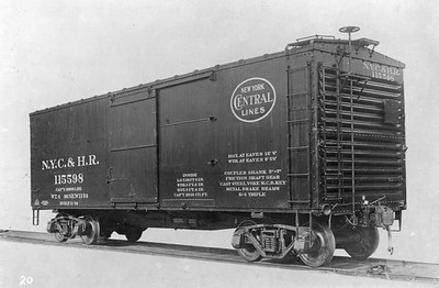 2011.008.0213.09--glenn guerra collection 4.5x6.5 print--NYC&HR (NYC)--wooden boxcar 115598 Pressed Steel Car Co builders photo--location unknown--no date
