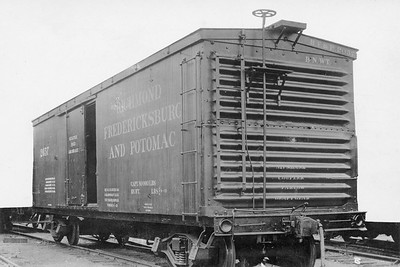 2011.008.0213.15--glenn guerra collection 4.5x6.5 print--RF&P--wooden boxcar 2057 Pressed Steel Car Co builders photo--location unknown--1913 0400