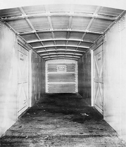 2011.008.0213.03--glenn guerra collection 4.5x6.5 print--UP--steel boxcar 100027 Pressed Steel Car Co interior builders photo--location unknown--no date