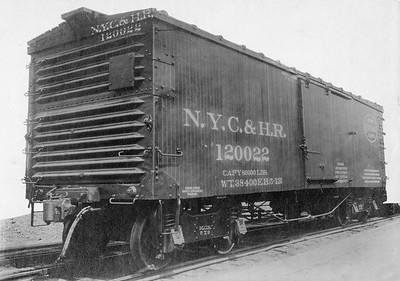 2011.008.0213.12--glenn guerra collection 4.5x6.5 print--NYC&HR (NYC)--wooden boxcar 120022 Pressed Steel Car Co builders photo--location unknown--1913 0500