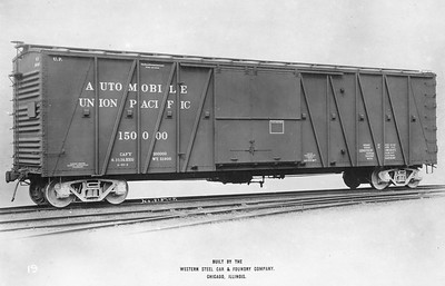 2011.008.0213.04--glenn guerra collection 4.5x6.5 print--UP--steel boxcar 150000 Western Steel Car & Foundry Co builders photo (lot 2157-F)--Chicago IL--1914 0600