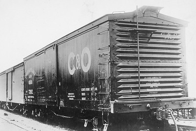 2011.008.0213.20--glenn guerra collection 4.5x6.5 print--C&O--wooden boxcar 7382 with steel ends Pressed Steel Car Co builders photo--location unknown--no date