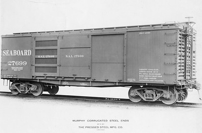 2011.008.0213.06--glenn guerra collection 4.5x6.5 print--SAL--wooden boxcar 27699 with Murphy steel ends by Pressed Steel Car Co builders photo (lot 2204-F)--Pittsburgh PA--1914 1000