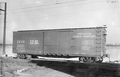 2011.008.PB.02--glenn guerra collection 8.5x13 print--C&NW--wooden boxcar 141200 builders photo (AC&F lot 8571)--St Louis MO--1918 1000