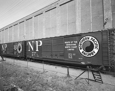 2009.002.022--glenn guerra collection 8x10 print--NP--company PR photo of new steel boxcar 7118 buiilt at NP shops Brainerd MN--location unknown--1957 0000