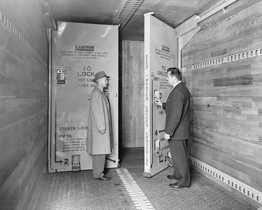 2009.002.029--glenn guerra collection 8x10 print [McGown Photography]--NP--company PR photo of new  boxcar interior bulkhead doors--location unknown--no date
