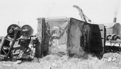 2011.008.PW.07--glenn guerra collection print--C&NW--wreck scene at Cottonwood Creek--9 mikes west of Chadron NE--c1916 0000