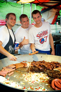 Gourmet chefs Justin, Joey and Stephen prepare amazing food at Goettafest on Saturday