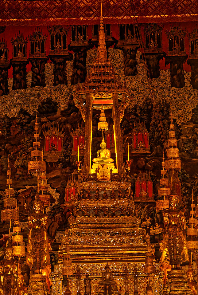 The tiny Emerald Buddha, Phra Kaeo, is just 26 inches high. Its garments are changed three times a year by the ruling majesty, following the changes in the seasons.