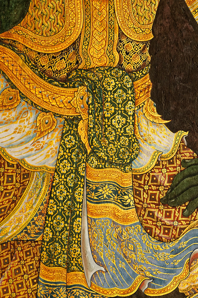 The Thai love of patterning and color is apparent in this detail of a warrior's attire.