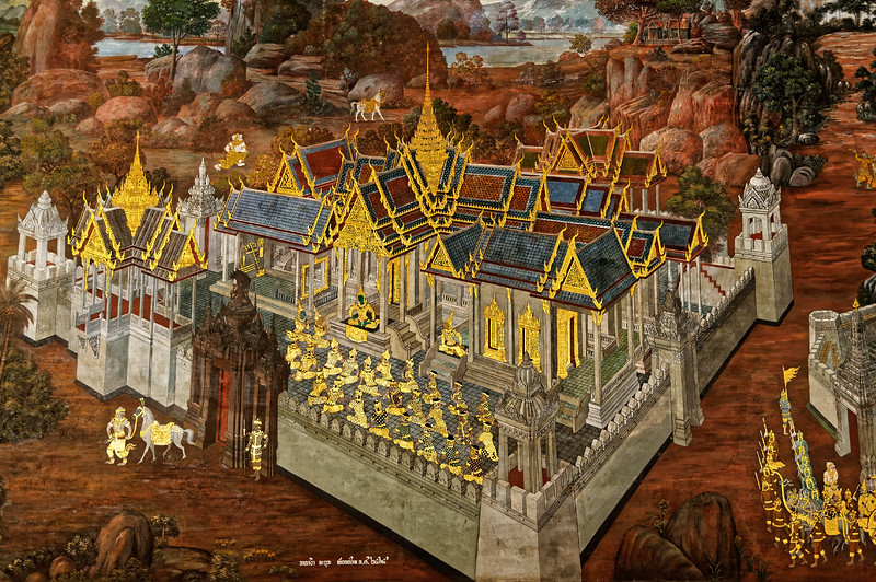 Created in the late-18th century during the reign of Rama I, the murals have been extensively restored and altered over the years. Along with the tale of Rama and Sita, they also present classic examples of Thai royal architecture.