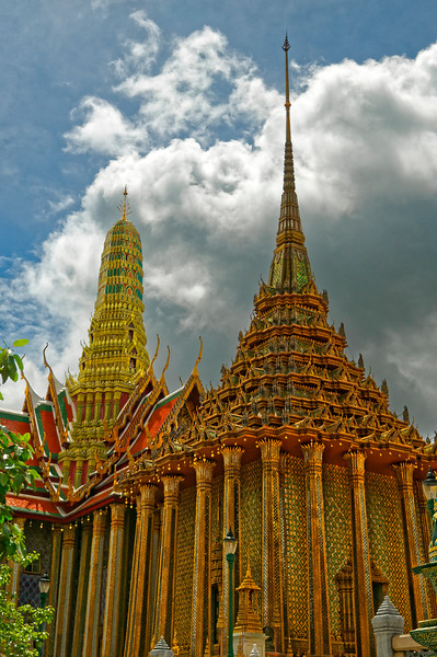 Phra Mondop, the temple's principal library, with the Royal Pantheon in the background