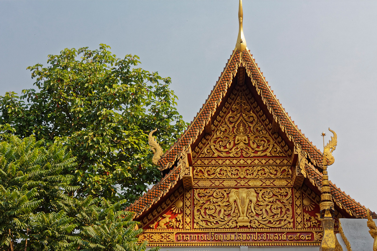 Among other decorative symbols on this gable is the multi-headed elephant Erawan.