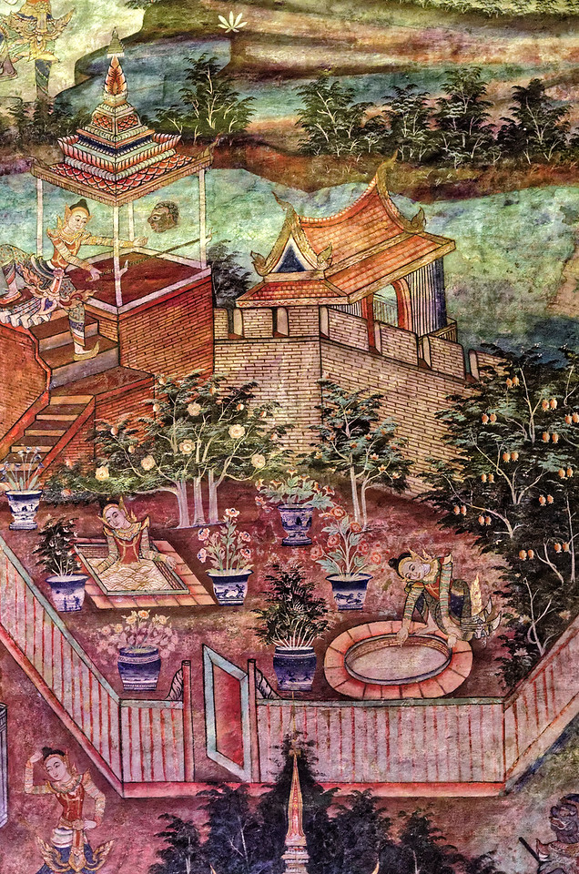 The murals date from the reign of Chulalongkorn, Rama V. This scene is from Sang Thong, the story of the Prince of the Golden Conch, a non-canonical tale.