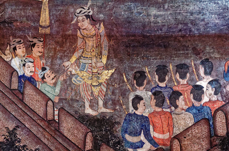 On another wall of the smaller assembly hall, murals depict the non-canonical <i>jataka</i> tale of Phra Suwannahong, Golden Swan or Goose.