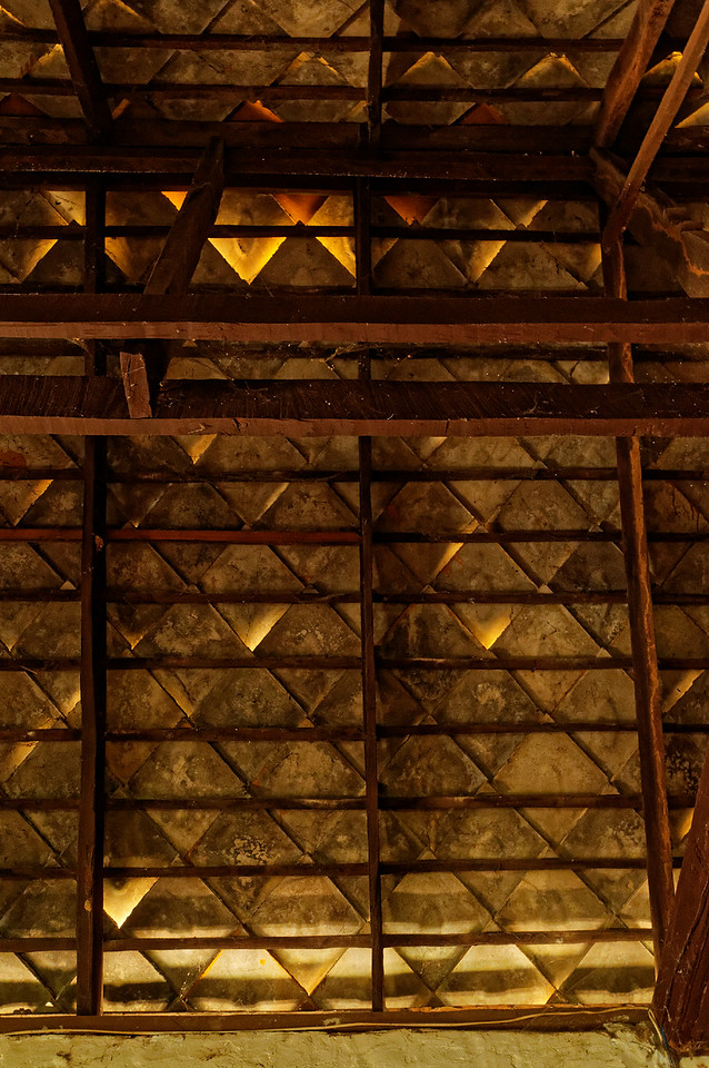 Detail of the tiled roof as viewed from inside the <i>sim</i>