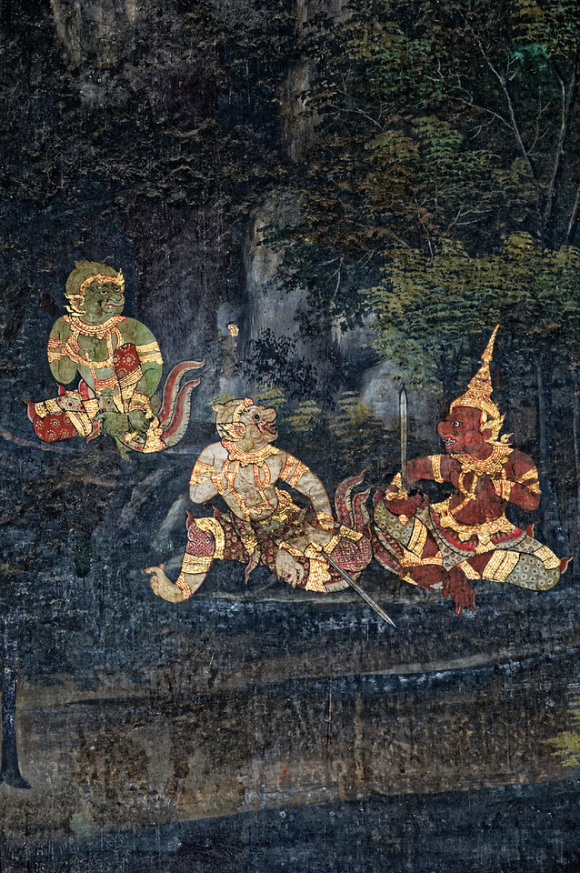 Detail with monkeys from the murals in the <i>viharn</i>