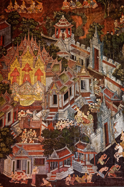 Another mural detail from the <i>viharn</i> that includes the scene of the Great Renunciation of Prince Siddhartha, the Buddha-to-be