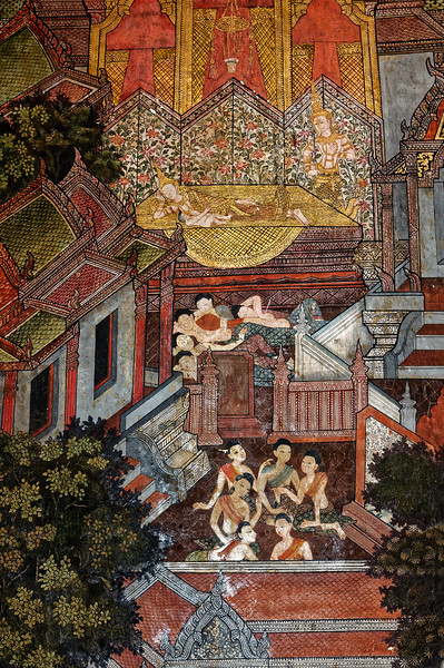 The Great Renunciation depicts Prince Siddhartha—here almost disappearing into the floral background—taking silent leave of his sleeping wife and son following his decision to pursue a path of meditation on the causes of human suffering.