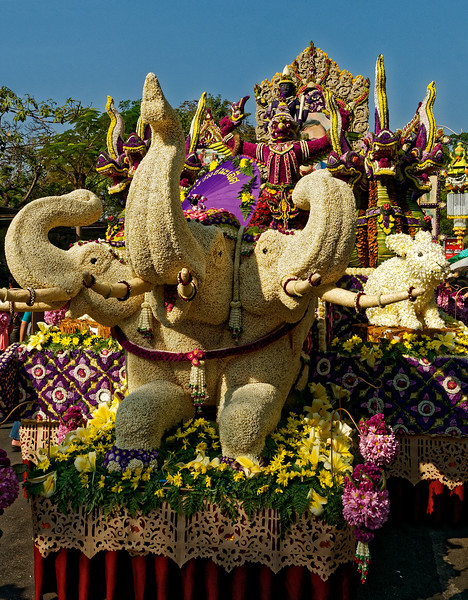 The multi-headed elephant Erawan from Hindu mythology, with Garuda and Indra in back.