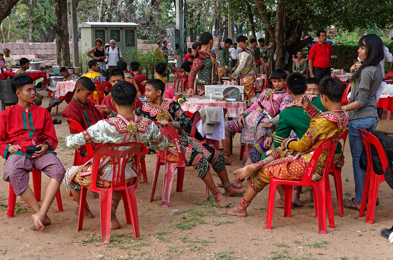 Relaxing before the performance. This was an all-male cast, as were the original <i>khon</i> performances, although women play the female roles in many of today's productions.