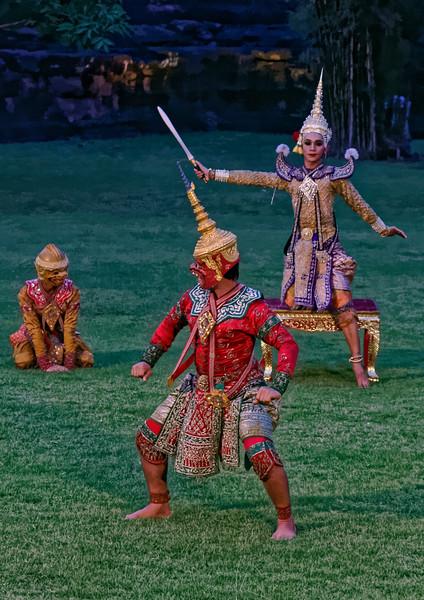 Sukreep, monkey ally of Rama (foreground), and Lakshmana, with sword raised