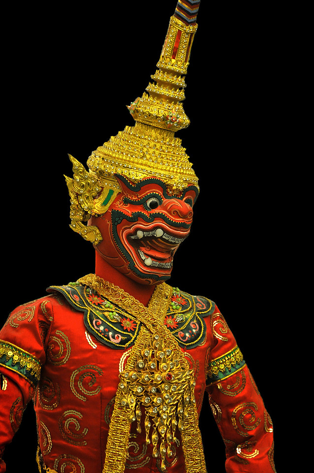 The characters, taken from the <i>Ramakien,</i> include humans, gods, and demons. This is Sukreep, an ally of Rama and Lakshmana.
