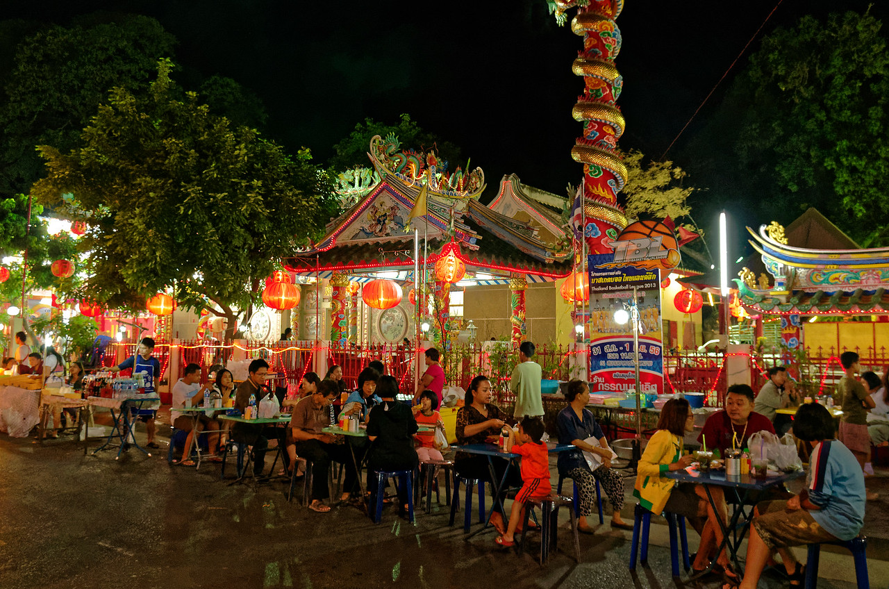 When the Chinese festival comes to Sisaket, the street adjacent to the temple where it's held is transformed into an outdoor restaurant.