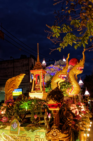 Many of the floats tend to be wonderfully elaborate, conjuring up symbols from Thailand's rich cultural past.