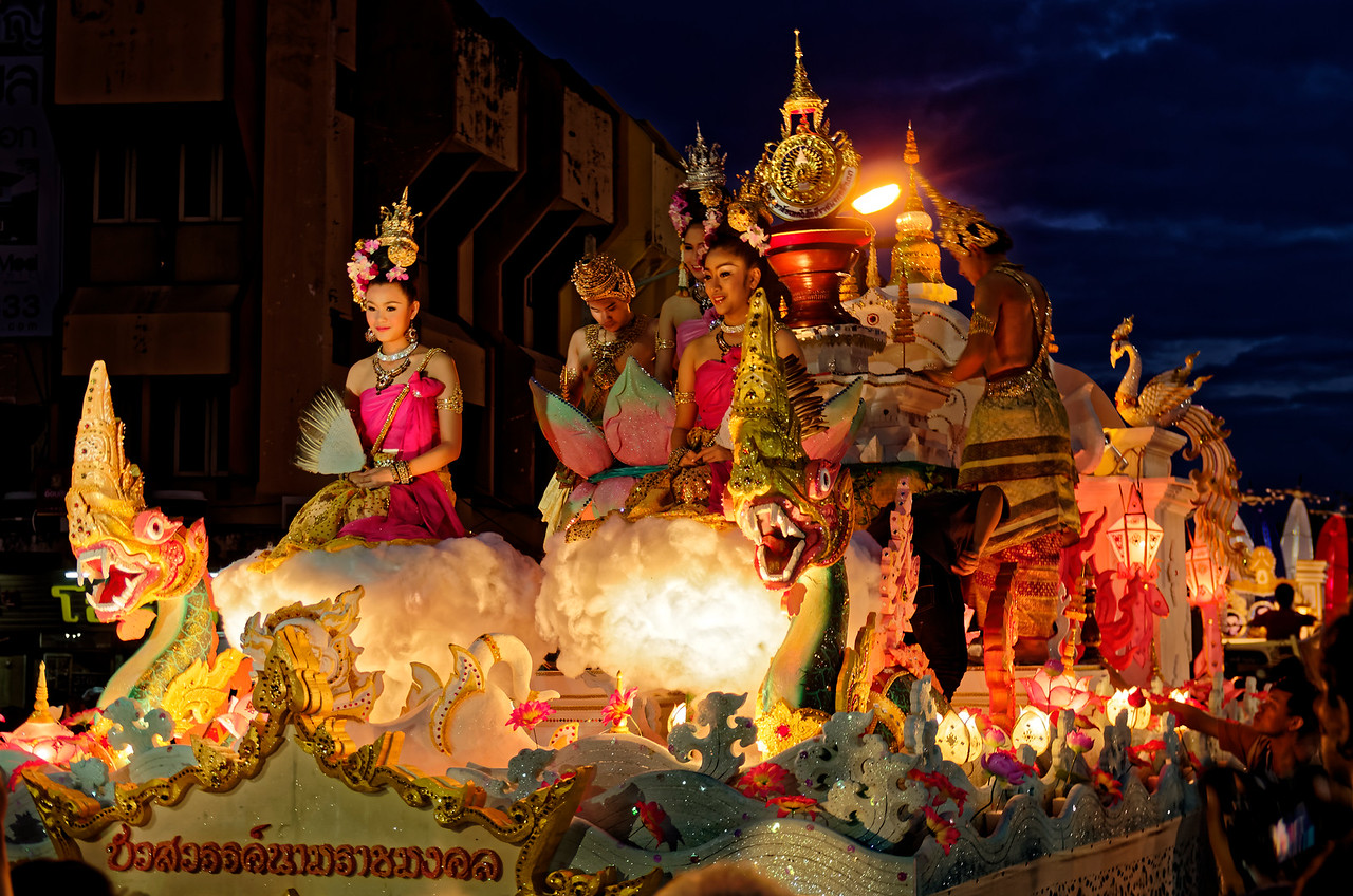 The festival's queen, her attendants, and their elaborate float
