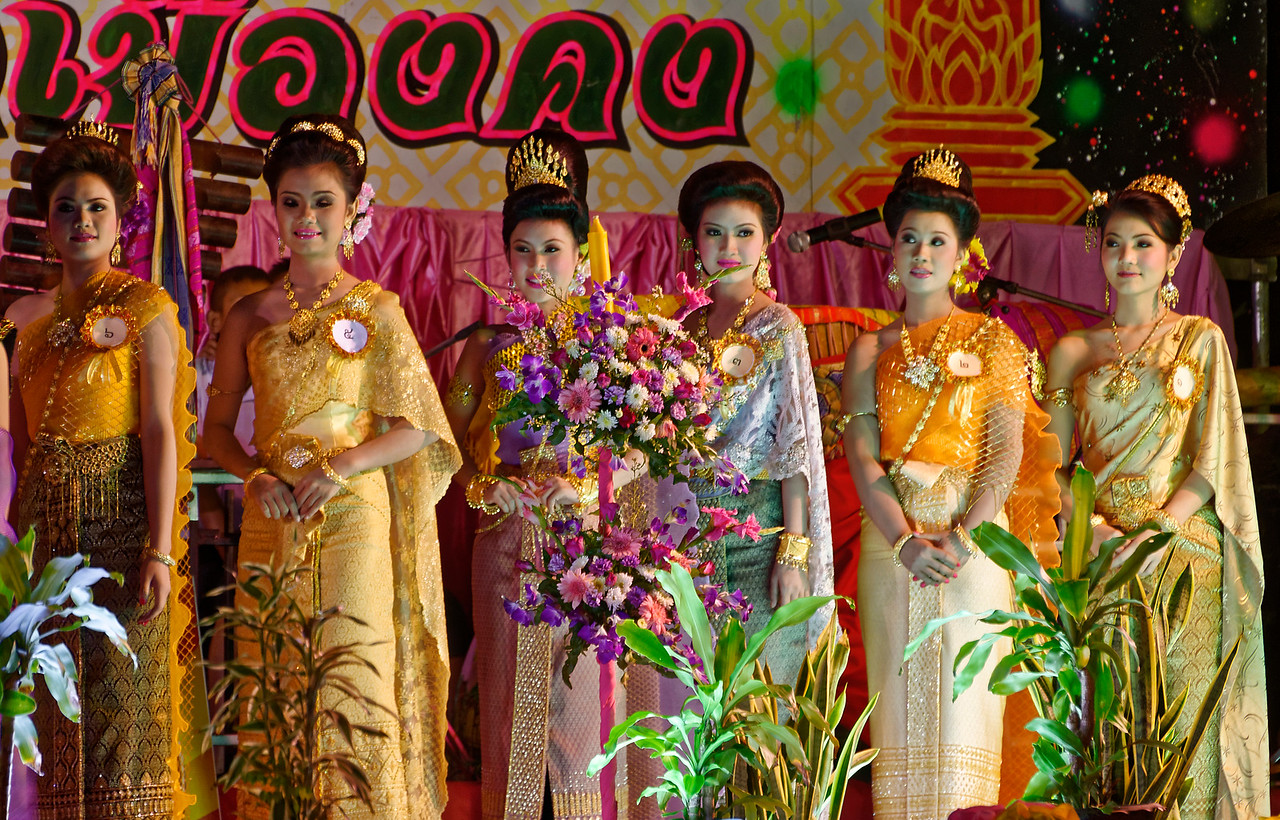 As with many Thai celebrations, there is a beauty contest, and a queen is chosen, at each <i>Loy Krathong</i> festival. These young women were from Rasi Salai.