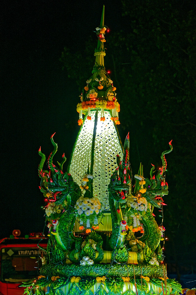 More <i>naga,</i> fashioned from banana leaves, encircle this rather stunning float from Rasi Salai.