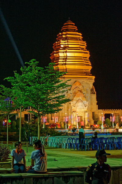 The municipal hall where the nighttime festivities occur in Sisaket: a contemporary interpretation of ancient Khmer temple architecture