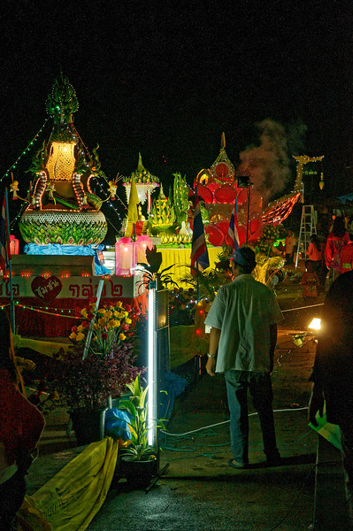 A view of some of the large floats created for the competition in Sisaket