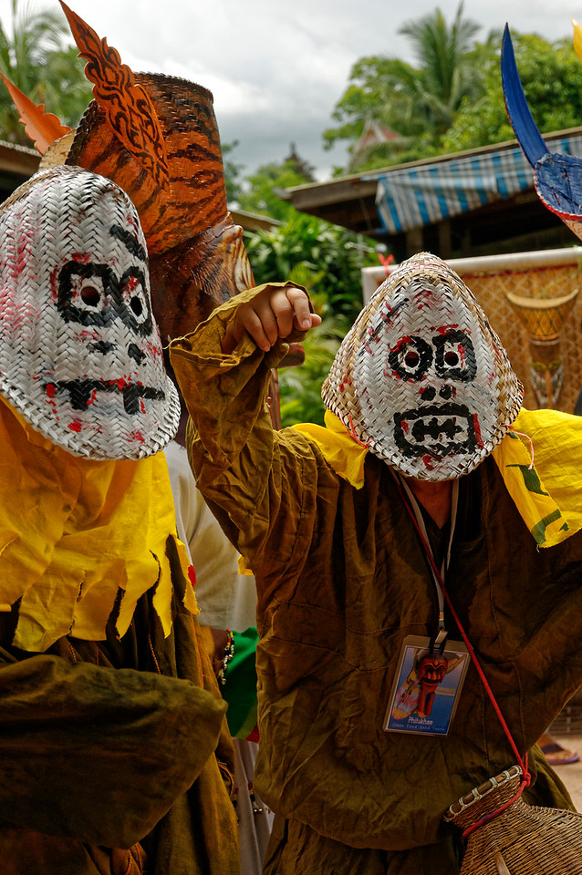 Masks made simply from <i>huad,</i> the baskets used to steam rice