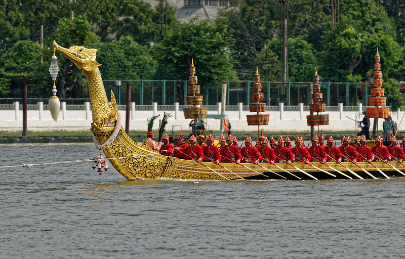 Rama I commissioned the original Suphannahongsa barge upon his ascension to the throne in 1782. A replacement was ordered by Rama VI in 1911. Excluding the figurehead, the entire 150-foot-long vessel, weighing over 15 tons, is made from a single piece of teak.