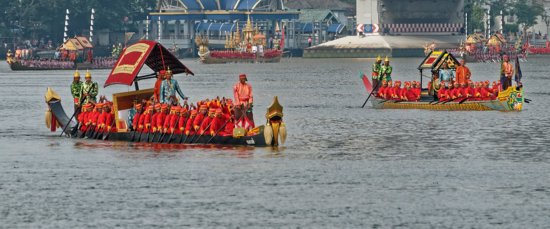 Manned by over 2,000 crew members from the Royal Thai Navy, more than 50 boats take part in the royal barges procession. Music is also a part of the ceremony, as boat songs are chanted by the oarsmen of the barges that accompany the king's barge.