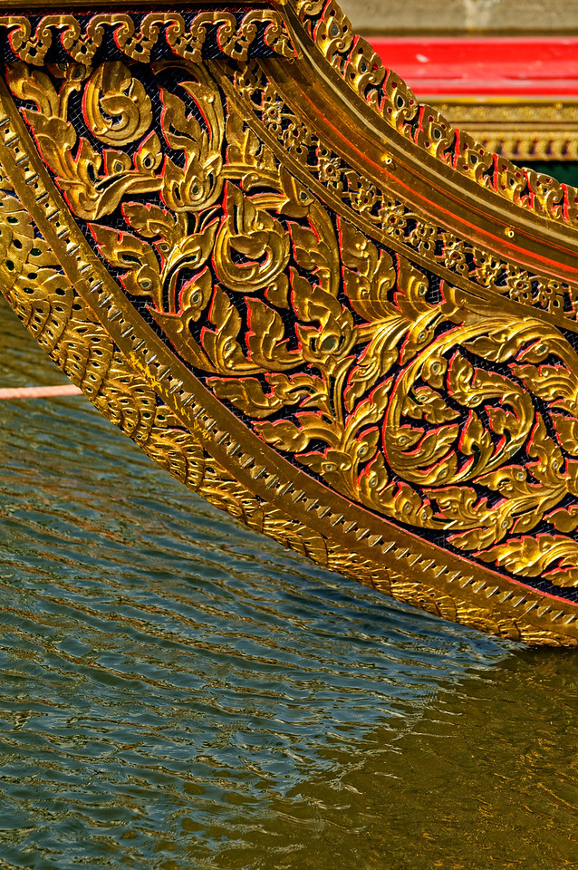 Detail of another barge with carved and gilded floral decoration
