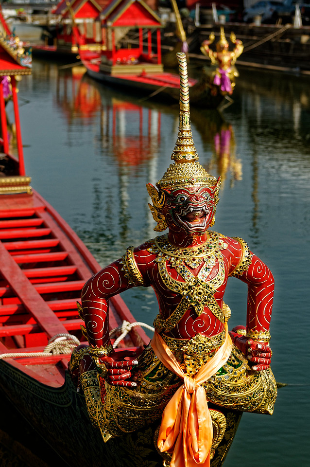 Many of the figureheads that appear on the royal barges represent characters from the <i>Ramakien,</i> the Thai version of the Hindu classic <i>Ramayana.</i>
