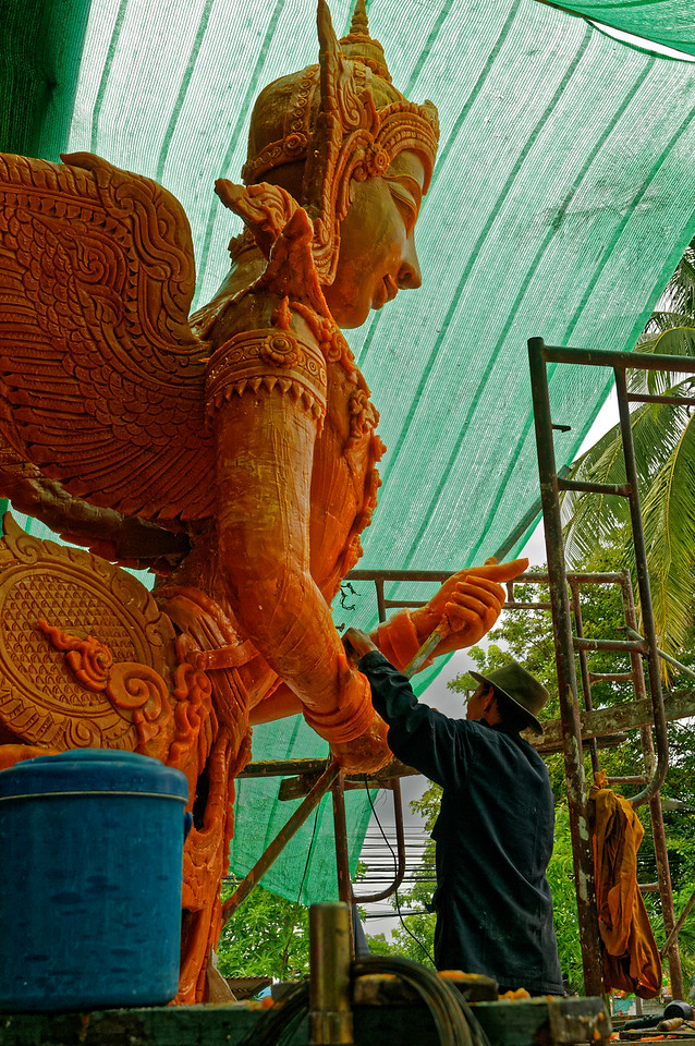 Whatever the origins, in Ubon Ratchathani the tradition has evolved into a festival in which groups of lay people, young and old, engage in merit-making activities by creating elaborate floats with beeswax figures depicting heroic episodes of Buddhist and Hindu origin.