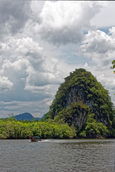 Limestone outcroppings and mangrove forests make for beautiful scenery at Krabi.
