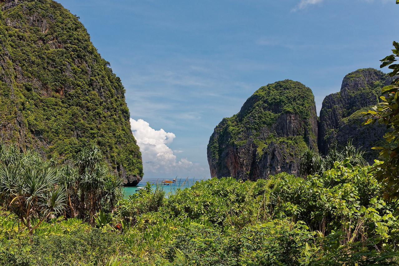 Overlooking Maya Bay from inland
